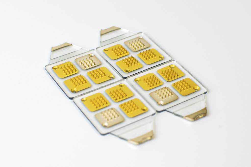 Gold and silver coated microspike biosensors